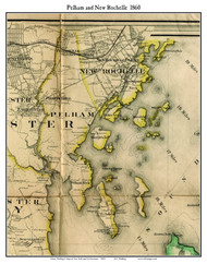 Pelham and New Rochelle (partial), New York 1860 Old Town Map Custom Print - NYC Environs