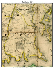 Westchester, New York 1860 Old Town Map Custom Print - NYC Environs