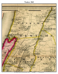Yonkers (partial), New York 1860 Old Town Map Custom Print - NYC Environs