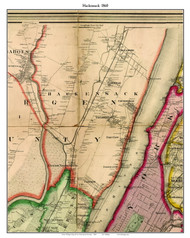 Hackensack, New Jersey 1860 Old Town Map Custom Print - NYC Environs