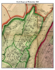 North Bergen and Weehawken, New Jersey 1860 Old Town Map Custom Print - NYC Environs