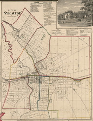 Syracuse City, New York 1859 Old Town Map Custom Print - Onondaga Co.
