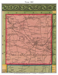 Victor, New York 1852 Old Town Map Custom Print - Ontario Co.