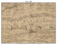 Gaines, New York 1860 Old Town Map Custom Print - Orleans Co.