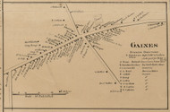 Gaines Village, New York 1860 Old Town Map Custom Print - Orleans Co.