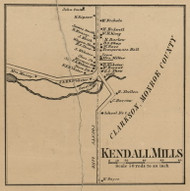 Kendall Mills, New York 1860 Old Town Map Custom Print - Orleans Co.