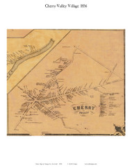 Cherry Valley Village, New York 1856 Old Town Map Custom Print - Otsego Co.