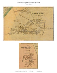 Laurens and Jacksonville Villages, New York 1856 Old Town Map Custom Print - Otsego Co.