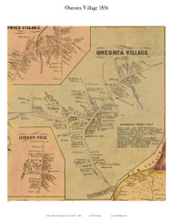 Oneonta Village, New York 1856 Old Town Map Custom Print - Otsego Co.