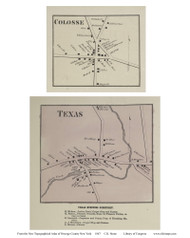 Texas, Colosse - Mexico, New York 1867 - Old Town Map Reprint - Oswego Co.