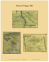 Hoosick Villages, New York 1861 Old Town Map Custom Print - Rensselaer Co.