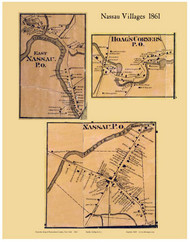 Nassau Villages, New York 1861 Old Town Map Custom Print - Rensselaer Co.