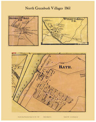 North Greenbush Villages, New York 1861 Old Town Map Custom Print - Rensselaer Co.