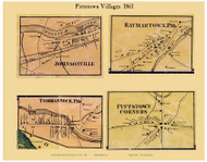 Pittstown Villages, New York 1861 Old Town Map Custom Print - Rensselaer Co.