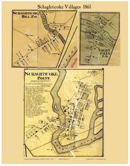 Schaghticoke Villages, New York 1861 Old Town Map Custom Print - Rensselaer Co.