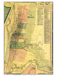 Troy City Closeup, New York 1861 Old Town Map Custom Print - Rensselaer Co.