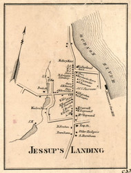 Jessups Landing, New York 1856 Old Town Map Custom Print - Saratoga Co.