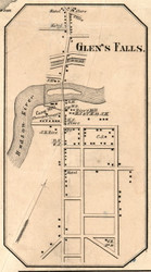 Glens Falls, New York 1856 Old Town Map Custom Print - Saratoga Co.