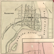 Waterford Village, New York 1856 Old Town Map Custom Print - Saratoga Co.