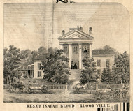 Res. of Isaiah Blood, New York 1856 Old Town Map Custom Print - Saratoga Co.