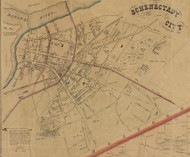 Schenectady City, New York 1856 Old Town Map Custom Print - Schenectady Co.