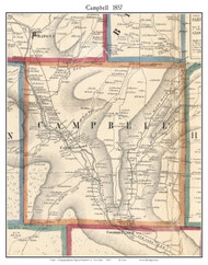 Campbell, New York 1857 Old Town Map Custom Print - Steuben Co.