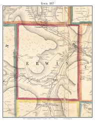 Erwin, New York 1857 Old Town Map Custom Print - Steuben Co.