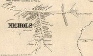 Nichols Village, New York 1855 Old Town Map Custom Print - Tioga Co.