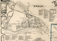 Owego Village, New York 1855 Old Town Map Custom Print - Tioga Co.