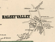 Halsey Valley, New York 1855 Old Town Map Custom Print - Tioga Co.