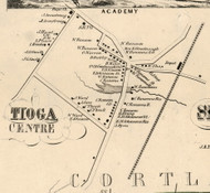 Tioga Center, New York 1855 Old Town Map Custom Print - Tioga Co.