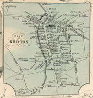 Groton Village, New York 1853 Old Town Map Custom Print - Tompkins Co.