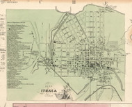 Ithaca Village, New York 1853 Old Town Map Custom Print - Tompkins Co.