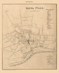 Glens Falls, New York 1858 Old Town Map Custom Print - Warren Co.
