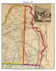 Hampton, New York 1853 Old Town Map Custom Print - Washington Co.