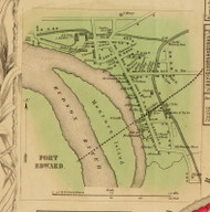Fort Edward Village, New York 1853 Old Town Map Custom Print - Washington Co.