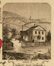 Res. of Mr. Horace Valentine, New York 1853 Old Town Map Custom Print - Washington Co.
