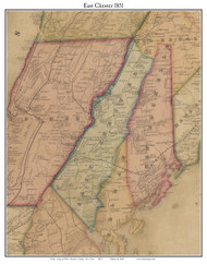 East Chester, New York 1851 Old Town Map Custom Print - Westchester Co.