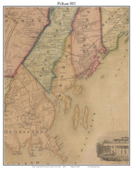 Pelham, New York 1851 Old Town Map Custom Print - Westchester Co.
