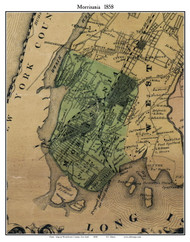 Morrisania, New York 1858 Old Town Map Custom Print - Westchester Co.