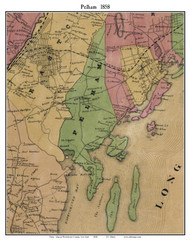 Pelham, New York 1858 Old Town Map Custom Print - Westchester Co.