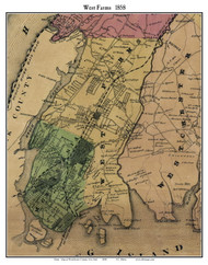 West Farms, New York 1858 Old Town Map Custom Print - Westchester Co.