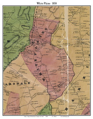 White Plains, New York 1858 Old Town Map Custom Print - Westchester Co.