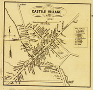 Castile Village, New York 1853 Old Town Map Custom Print - Wyoming Co.