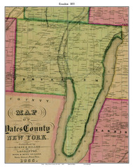Jerusalem, New York 1855 Old Town Map Custom Print - Yates Co.