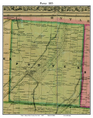 Potter, New York 1855 Old Town Map Custom Print - Yates Co.