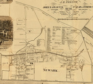 Newark, New York 1858 Old Town Map Custom Print - Wayne Co.