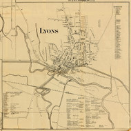 Lyons Village, New York 1858 Old Town Map Custom Print - Wayne Co.