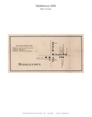 Middletown - Butler Township, Pennsylvania 1858 Old Town Map Custom Print - Adams Co.