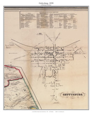 Gettysburg - Cumberland Township, Pennsylvania 1858 Old Town Map Custom Print - Adams Co.